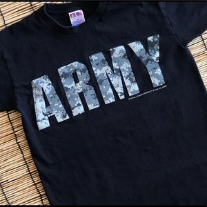 Black and camo Army is military branch Tshirt/top.